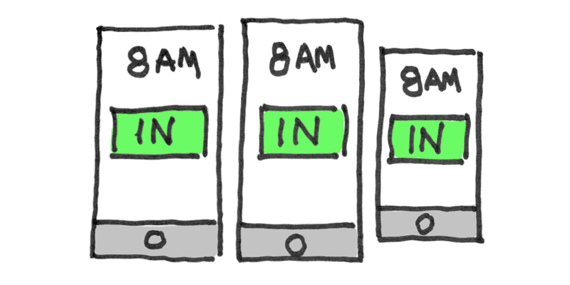 Illustration of a time clock app