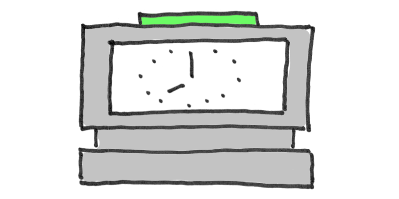 Illustration of a time clock machine