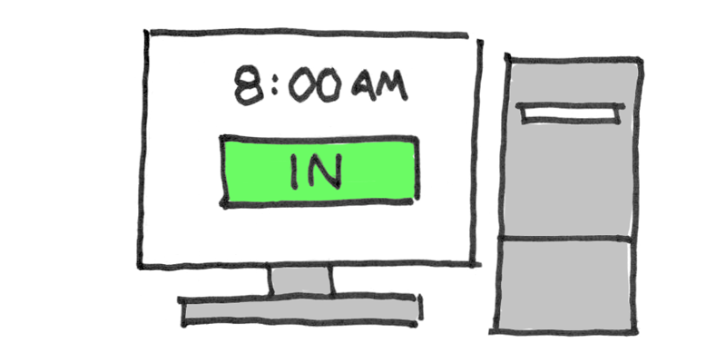 Illustration of time clock software